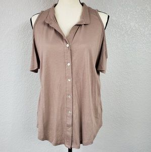 Staring at Stars cut out shoulder button blouse